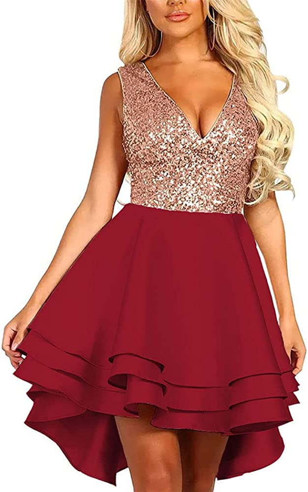 Makerah Homecoming Dress Sequin Glitter Short V Neck A-line Club Cocktail Party High Low Formal Dresses for Women