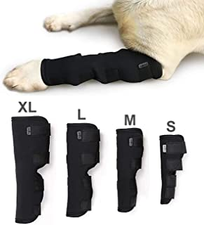 Extra Supportive Dog Canine Rear Front Leg Hock Joint Wrap Protects Wounds Compression Brace Sleeve with Straps for Heals and Prevents Injuries and Sprains Helps Arthritis