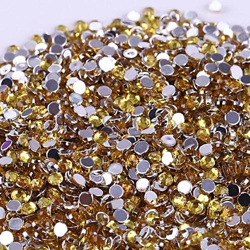 Vente En Gros 500pcs Cristal Rhinestones Flatback Acrylique Perles Nail Art Jaune Citron