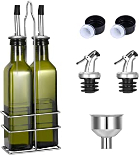 Gusnilo Glass Olive Oil Bottle - 250ml Second Generation Green Oil & Vinegar Cruet with Pourers and Funnel - Olive Oil Car...