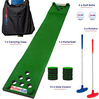 PutterBall Golf Beer Pong Game Set - Includes 2 Putters, 2 Golf Balls, Green Putting Beer Pong Golf Mat, Golf Hole Covers & Carrying Case - Best Backyard Party Golf Game Set