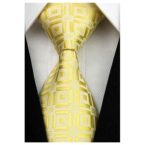 a2e249fd209a MENDENG Checks Golden Yellow 100% Silk Men's Tie Business Wedding Necktie