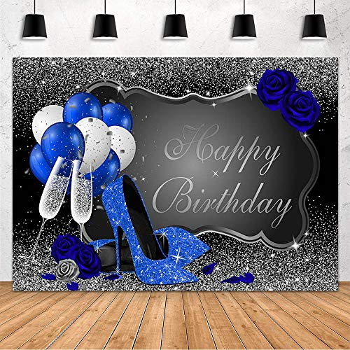 MEHOFOND Blue Heels Champagne Happy Birthday Party for Women Decoration Backdrop Blue Rose Balloon Black and Silver Photography Background Photo Studio Props Banner Vinyl 7x5ft