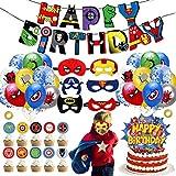 39 Pièces Décoration de fête d'anniversaire de Super-héros,Ballons de Superhero Anniversaire Décoration Kit,Ballon de Joyeux Anniversaire Avengers pour Superhero Theme Party Supplies