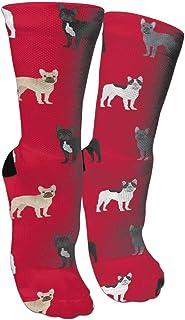 靴下 抗菌防臭 ソックス フレンチブルドッグ犬アスレチックスポーツソックス、旅行&フライトソックス、塗装アートファニーソックス30センチメートル長い靴下