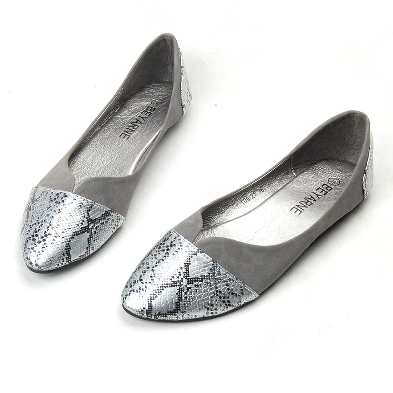 [COOL] パイソン柄 フラット パンプス ぺたんこ バレエシューズ ローヒール 結婚式 靴 レディース shi388