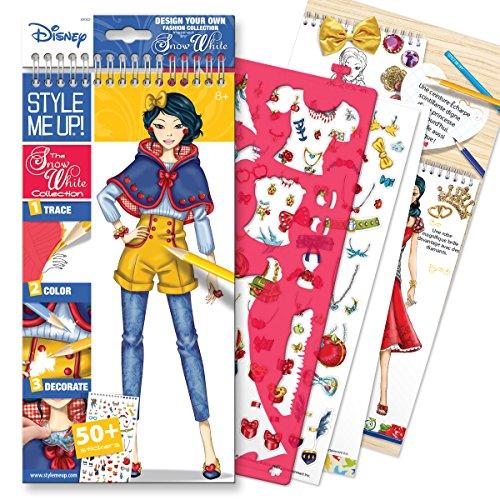 Style Me Up - Carnet de Cloriage Disney Pour Filles, Livre de Dessin Disney Blanche Neige avec Autocollants, Crayons de Couleurs - SMU-2002