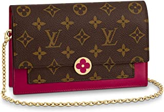 Louis Vuitton Monogram Canvas Cross Body Shoulder Handbag Flore Chain Wallet Fuchsia Article M67404