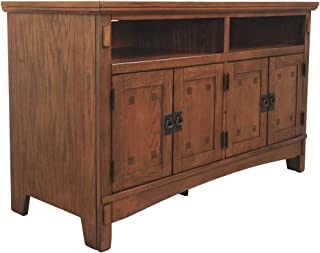 Ashley Furniture Signature Design - Cross Island TV Stand - 50in with 3 Cabinets and 2 Cubbies - Vintage Casual - Medium Brown