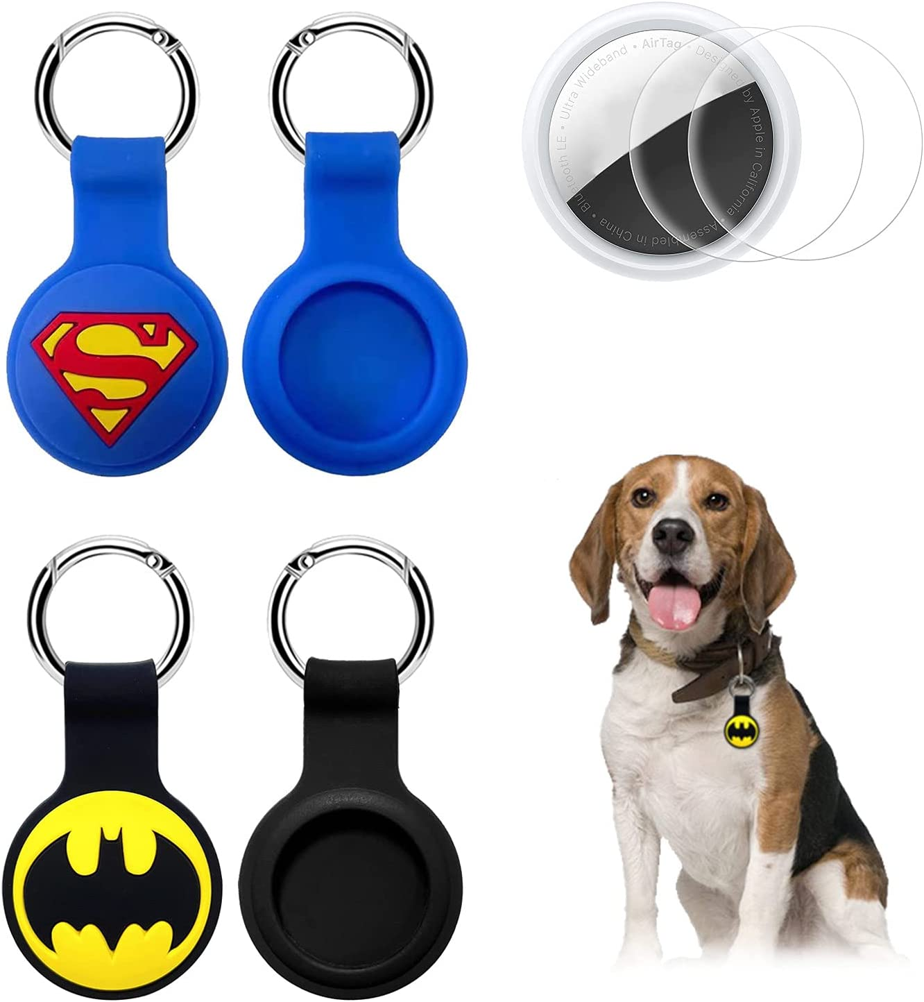Airtag Case,Air tag Holder Keychain Key Ring Compatible with Apple Airtag Case, Safty Air Tags Airtags Lock Holder for Dog Collar 2 Pack