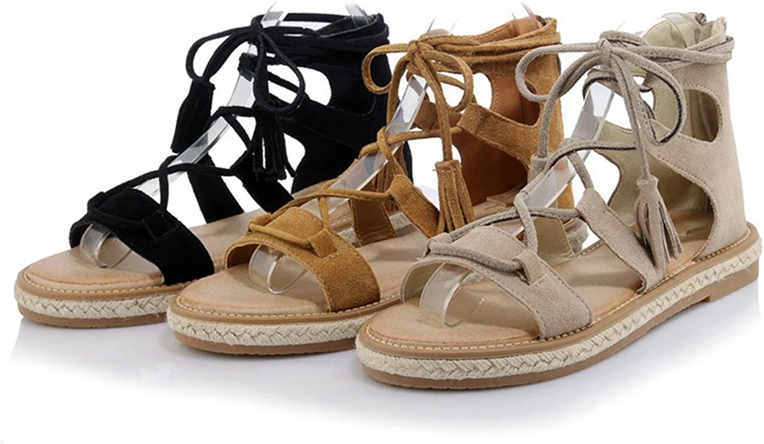 Women's Genuine Leather Braid Strappy Gladiator Tassel Ankle Strap Lace Up Flat Sandals Roman shoes
