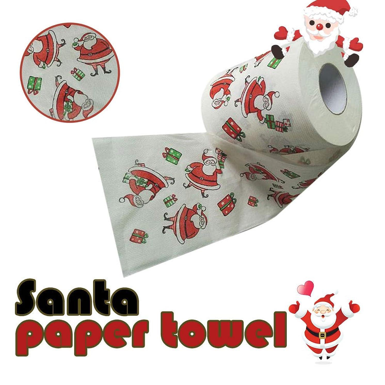 DZT1968 Christmas Snowman Santa Claus Pattern Roll Paper Print Interesting Toilet Paper Table Kitchen Paper (A)