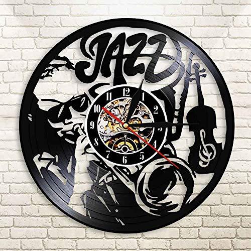 HIDFQY Vintage Jazz Acryl Schallplatte Wanduhr mitLEDHintergrundbeleuchtung Acryl Wanduhr Saxophon Spieler Musiker Jazz Liebhaber