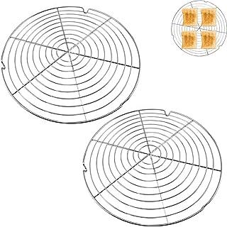 HUYIWEI Lot de 2 grilles de refroidissement à gâteau rondes - Grille à gâteau pour un refroidissement uniforme et rapide -...