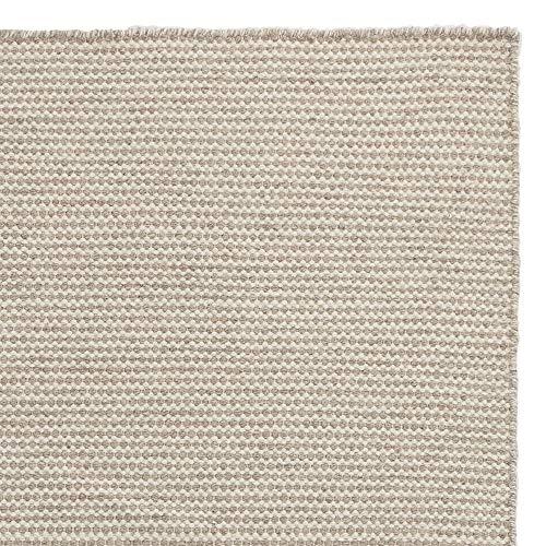 URBANARA Alfombra Udana – 100% lana 140 x 200 cm, tejida a mano, bicolor arenisca/blanco natural, certificado de cuidado y comercio