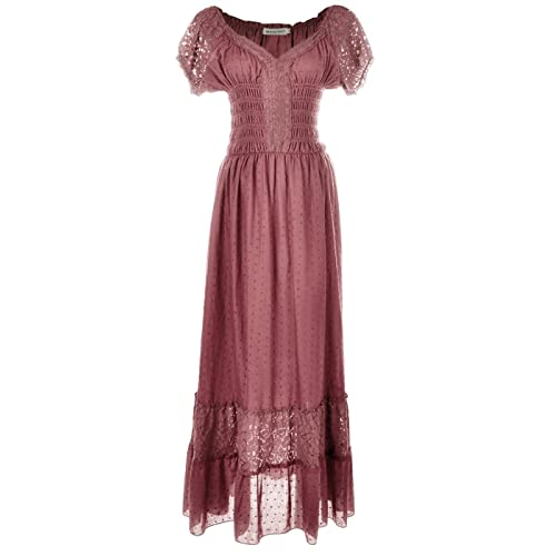ba3fc4e3844 Anna-Kaci Renaissance Peasant Maiden Boho Inspired Cap Sleeve Lace Trim  Dress