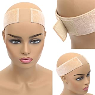 Xinxinshuyu Lace Wig Grip Velvet Comfort Adjustable Elastic Wig Band for Lace Wigs and Frontal (Lace Wig Band, Beige)