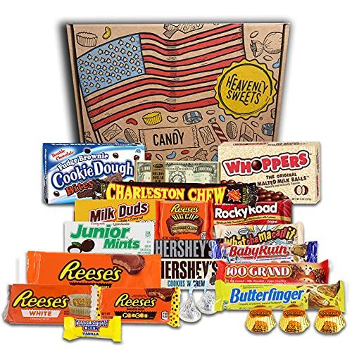 Heavenly Sweets Amerikanische Schokolade Geschenkbox - Klassische USA-Marken-Box voller Schoko-Leckereien - Ideales Geschenk für Geburtstag, Weihnachten, Halloween - 23 Snacks, 30x20x5cm