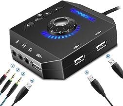 کارت صوتی استریو خارجی آداپتور صوتی PHOINIKAS USB با هدفون 3.5 میلیمتری و جک میکروفون برای ویندوز ، مک ، لینوکس ، رایانه شخصی ، لپ تاپ ، دسک تاپ ، کامپیوتر خارجی PS4 ...