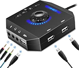PHOINIKAS External Sound Card, USB Audio Adapter with 3.5mm Headphone and Microphone Jack, Volume Control, Stereo Sound Card Plug Play, for Windows, Mac, Linux, PC, Laptops, Desktops (6-in-1, Black)
