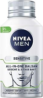 Nivea Men Sensitive - Bálsamo facial y barba de 3 días (2 unidades de 125 ml) cuidado facial calmante y hidratante con ac...
