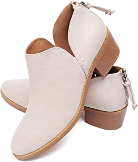 Susanny Ankle Boots for Women Zipper Work Booties Chunky Low Heels Slip on Shoes
