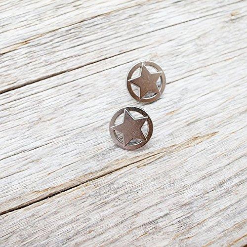 【星コンチョボタン(スターボタン)】メタルボタン #C634 1穴 10mm C/#HN シルバー 2個セット