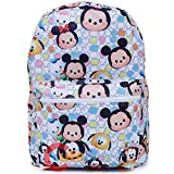 Disney Tsum Tsum School Backpack 16in All Over Print Large Book Bag White