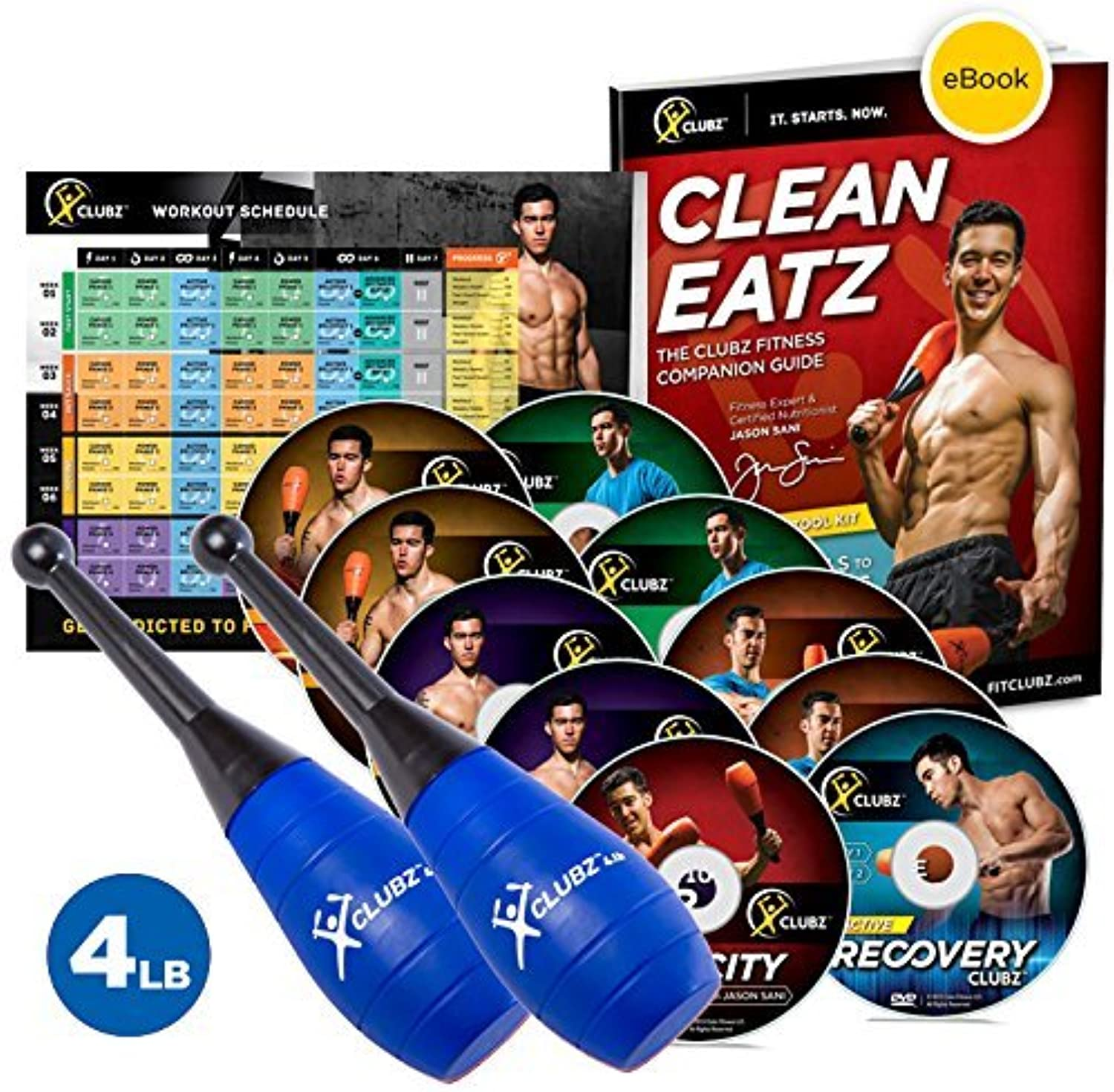 The Clubz Fitness Indian Club Training Program  4lb Expert