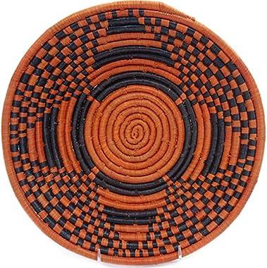"Fair Trade Uganda African Bukedo & Raffia Bowl 11.5-12.5"" Across, UR1912"