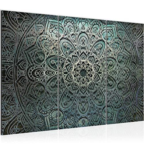 Runa Art Mandala Abstrakt Bild Wandbilder Wohnzimmer XXL Grün Schwarz Weiss 120 x 80 cm 3 Teilig Wanddeko 109431a