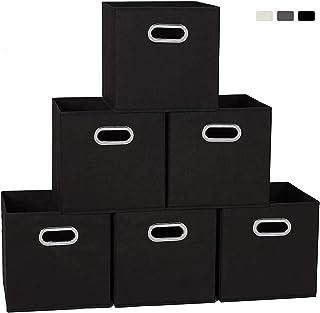 収納ボックス 折り畳み キューブボックス 金属取っ手 収納力抜群 寝室 引き出し クローゼット おもちゃ 事務室 ギフト くすり 学生 衣類/おもちゃ/本/家庭用品【6つセット】 ブラック