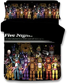 EVDAY Five Nights at Freddy's Pizza Security's Bedding for Boys Lightweight Ultra Soft Breathable 3 Piece Kids Duvet Cover Set Including 1Duvet Cover,2 Pillowcases Full Size