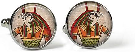 Silver Plated Glass Picture Cufflinks Rosetta London EGYPTIAN God Horus
