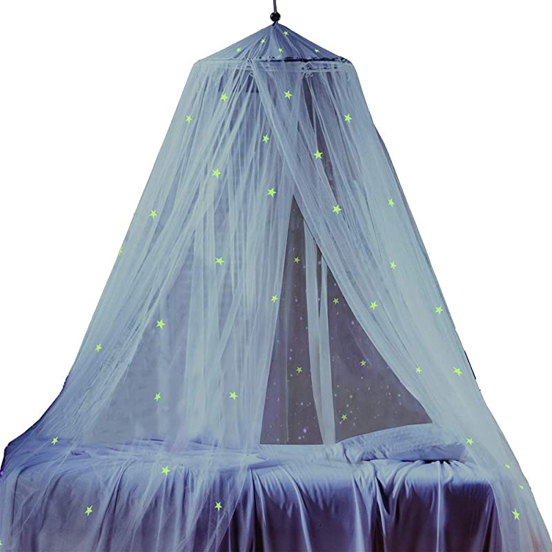 Bed Canopy With Fluorescent Stars Glow In Dark For Baby Kids Girls Or Adults Anti Mosquito As Mosquito Net Use To Cover The Baby Crib Kid Bed Girls Bed Or Full Size Bed Fire Retardant Fabric