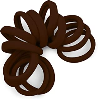 Soft and Stretchy Gentle Hold Seamless 1.5 Inch Elastic Nylon Fabric No-Metal Ponytail Holders - 12 Hair Ties (Medium Brown)