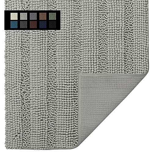 Easy-Going Luxury Chenille Striped Pattern Bath Mat, 30x45 in, Soft Plush Bath Rug, Absorbent Bathroom Rug, Non Slip Perfect Carpet Rugs for Shower, Bedroom, Front Door, Enterway (Light Gray)
