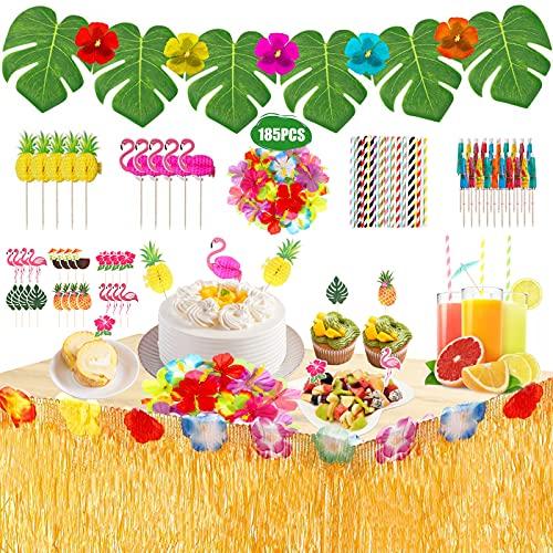 185 Pcs Hawaiano Luau Falda de Mesa Set de decoración,Decoración de Fiesta Tropical con hojas de palma Flores hawaianas adornos para cupcakes decoraciones de mesa de fiesta Tiki de verano