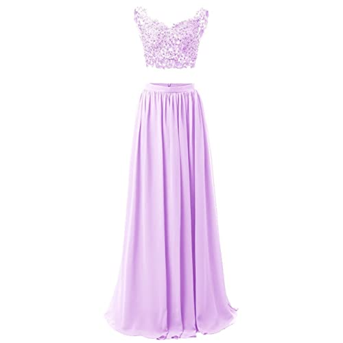 Lilac Two Piece Long Prom Dress Amazoncom