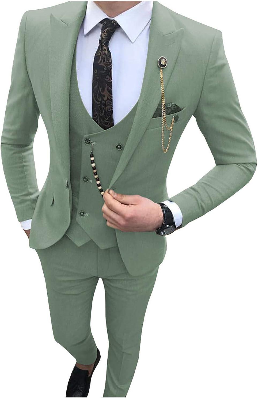 Jiaoyunshi Mens Suits Slim Fit-3 Piece Leisure Notch Lapel V Neck Groomsmen Tuxedo Suit for Men Wedding Jacket Vests Pants