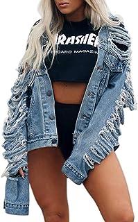 8397384e2d1 aliveGOT Women s Oversized Destroyed Denim Jacket Loose Ripped Jean Jacket  Coat