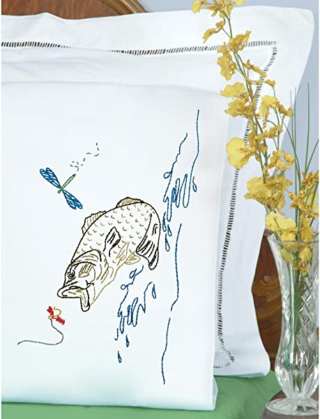 Jack Dempsey Stamped Pillowcases W White Perle Edge 2 Pkg Fish
