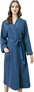 YiyiLai Womens Dressing Gown Fluffy Terry Towelling Cotton Robe with Makeup Headband for Spa Hotel Home Holiday
