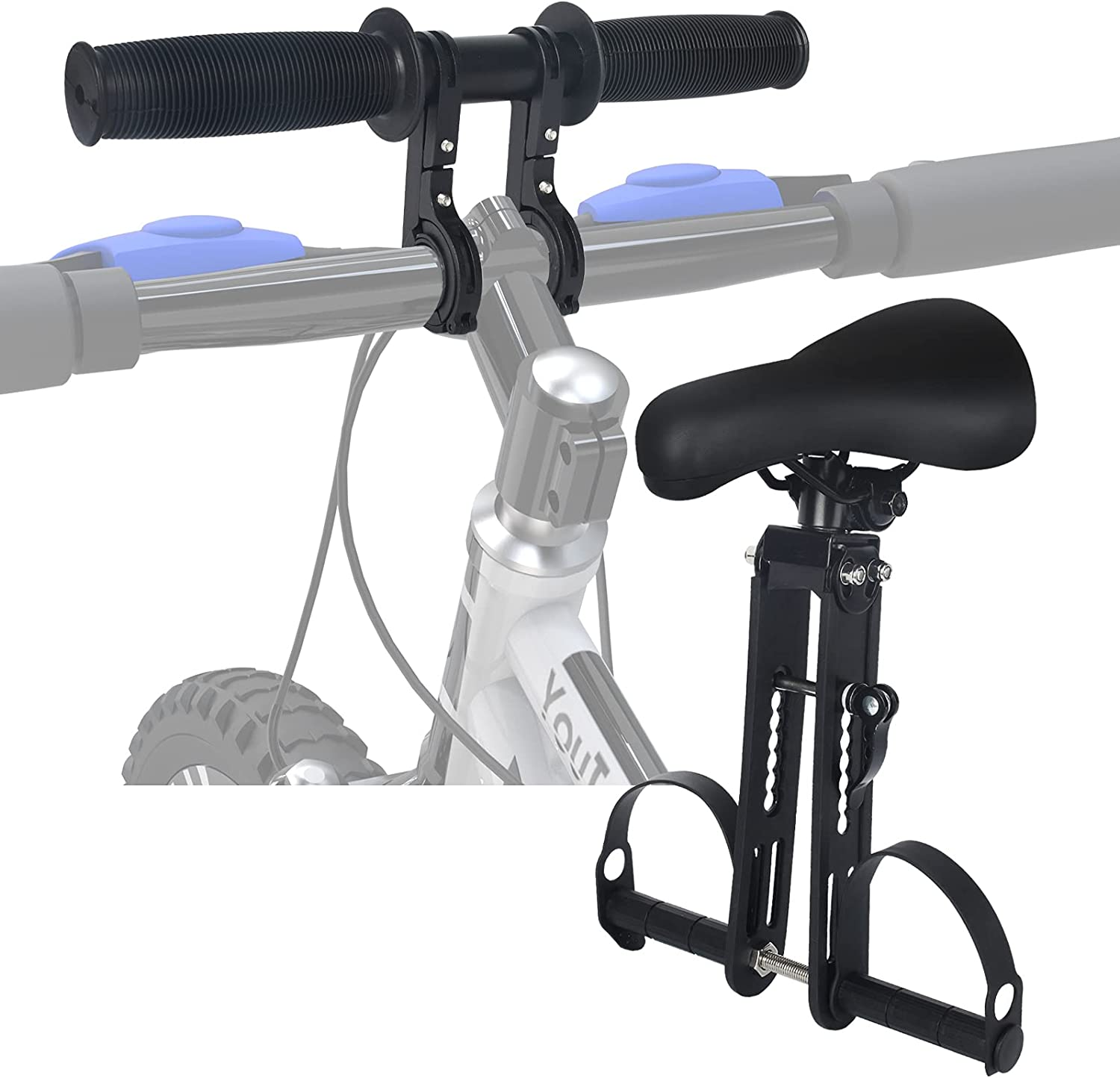 YouTeMei Bike Child Seat for Adult Bike, Front Mounted Kids Bike Seat, with Foot Pedals for Children 2~6 Years, Compatible with All Adult Mountain Bikes