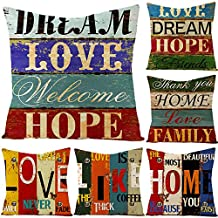 Cushion cover 45X45 set of 6pcs Rustic Industrial pattern Family and Home Decorative throw pillow case 18X18inch (Rustic I...