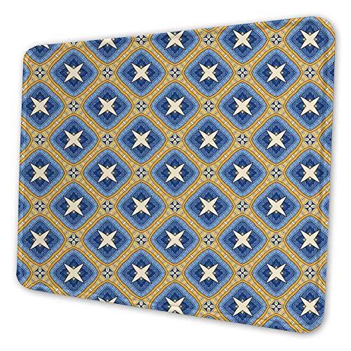 Rechthoekige Mousemat Mousepad, Aziatische Vintage Tegel Ornament Diagonaal Patroon met Ar-abesque Art Invloeden
