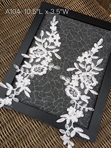 A104 Lace Appliques, THREE pairs Embroidered Appliques,Lace Patches for Wedding Dress, DIY Clothing, Bridal Veil Decoration
