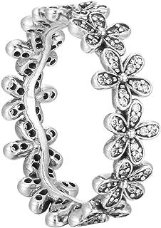 Pandora 潘多拉 女士戒指,光泽,雏菊 ,925银,氧化锆,白色 – 190934 CZ 银白色