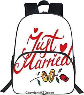 Oobon Kids Toddler School Waterproof 3D Cartoon Backpack, Just Married Hand Writing in Red and Rose with Wedding Rings, Fits 14 Inch Laptop