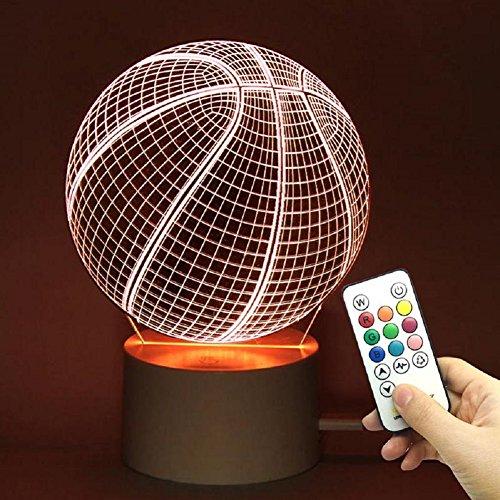 TRADE® 10 cambio de color Touch mando a distancia Dimming balón de baloncesto deportes 3d Visualización acrílico LED luz nocturna Nochebuena Cumpleaños Halloween